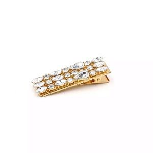 🎉 Embellished Crystal Gold Plated Hair Clip